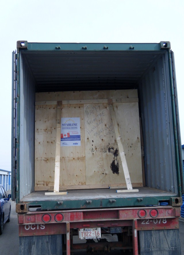 Our container with the bulkhead built.