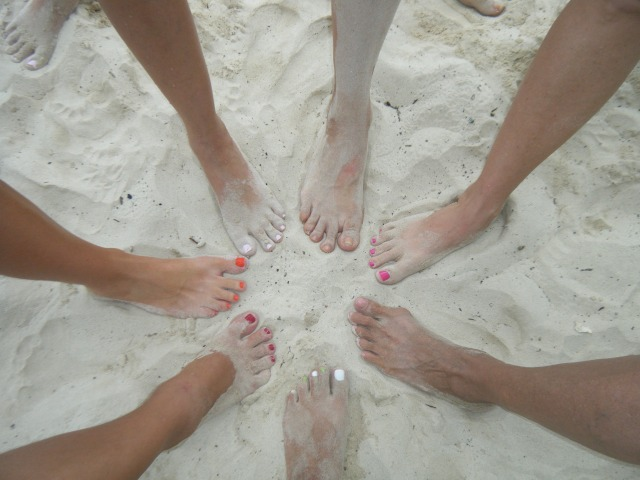 Toes in the sand of Isla Iguana.