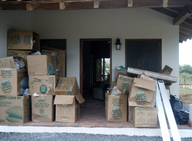 "What our house looked like after the movers brought the ""stuff"" May 2012."