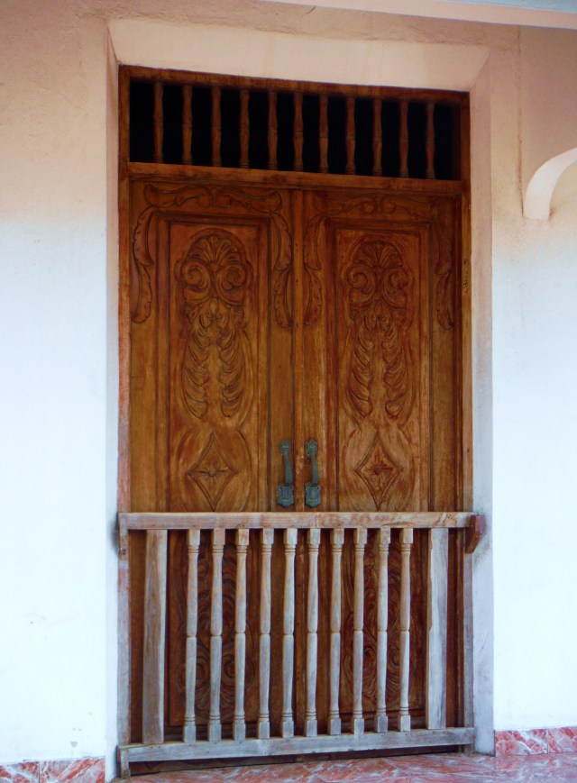 This wood door has great detail.  The small gate is keep dogs or children in when the door is open.