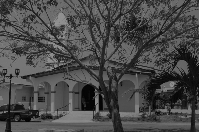 Panama church, black and white
